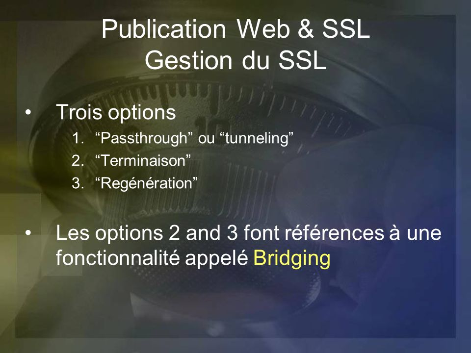 Publication Web & SSL Gestion du SSL