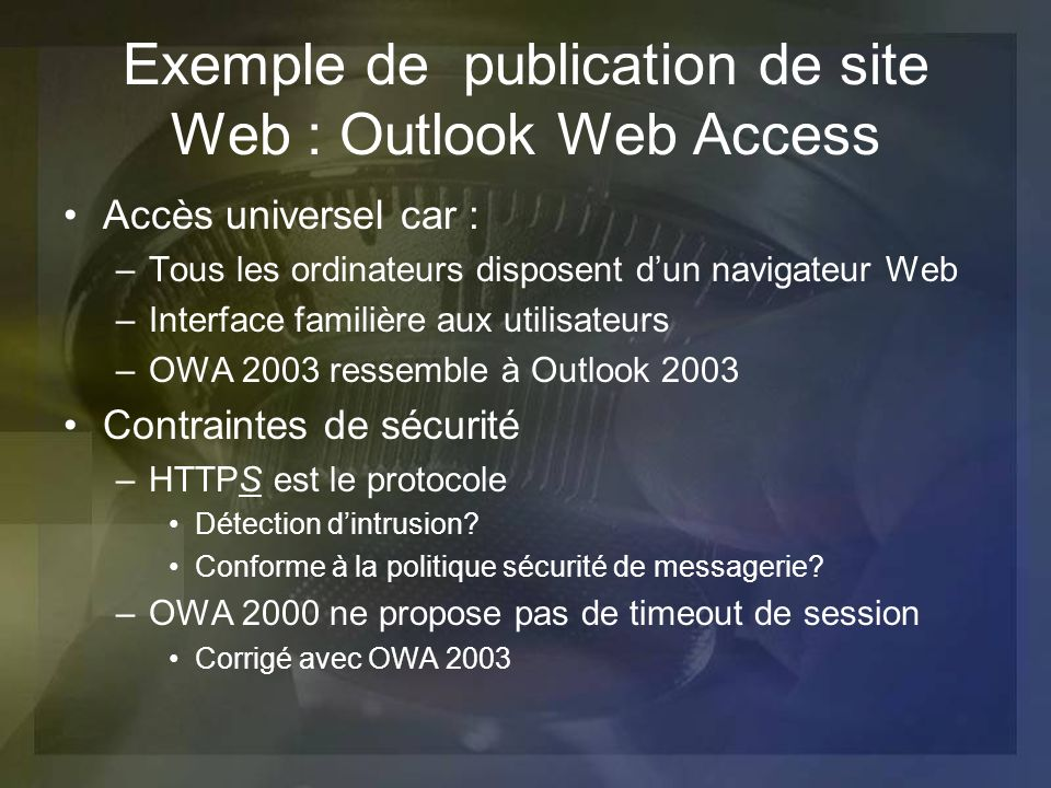Exemple de publication de site Web : Outlook Web Access