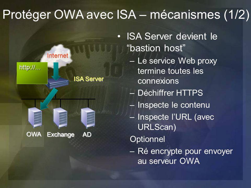 Protéger OWA avec ISA – mécanismes (1/2)