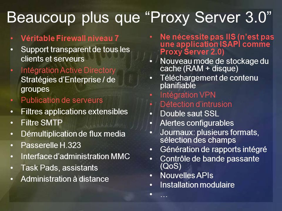 Beaucoup plus que Proxy Server 3.0