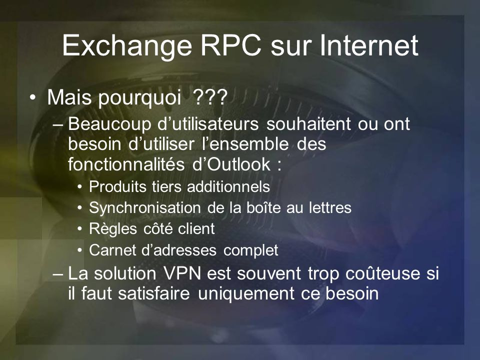 Exchange RPC sur Internet