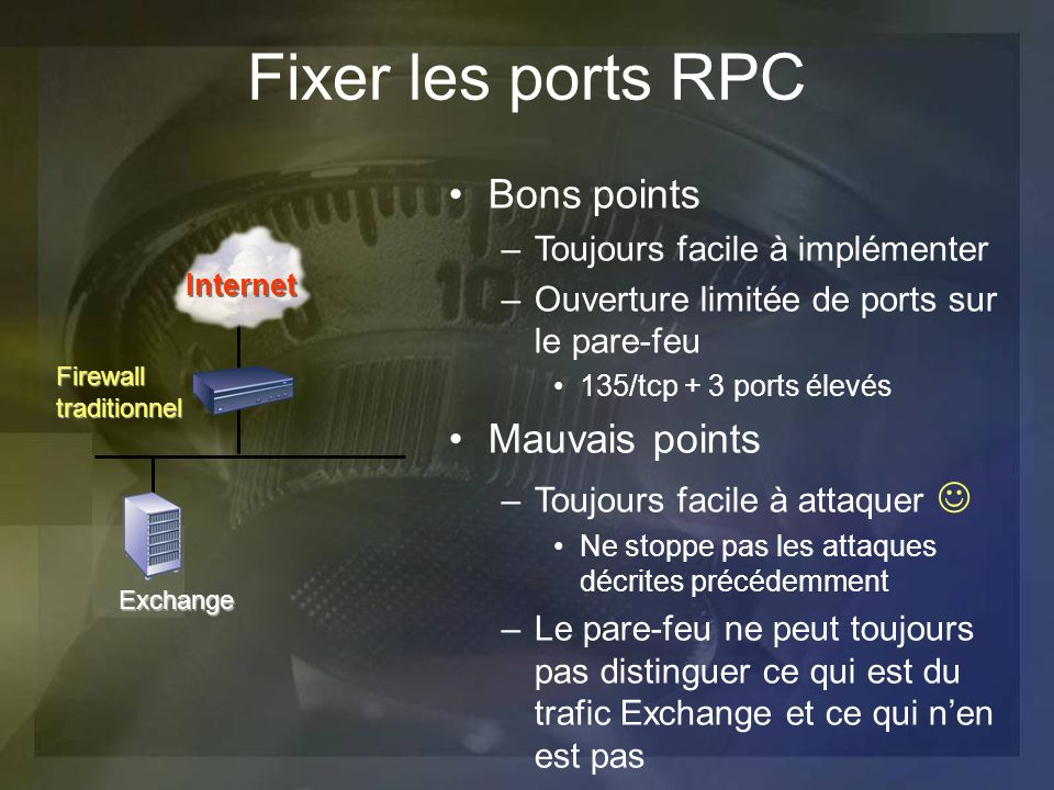 Fixer les ports RPC Bons points Mauvais points