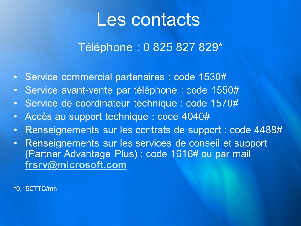 Les contacts Téléphone : 0 825 827 829*