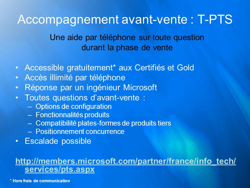 Accompagnement avant-vente : T-PTS