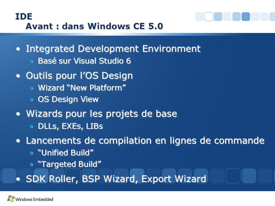 IDE Avant : dans Windows CE 5.0