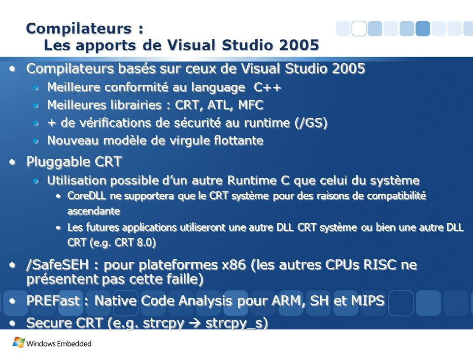 Compilateurs : Les apports de Visual Studio 2005