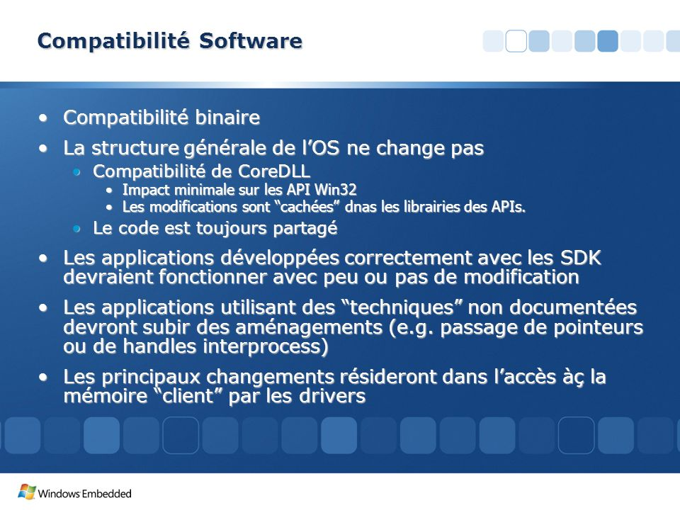 Compatibilité Software