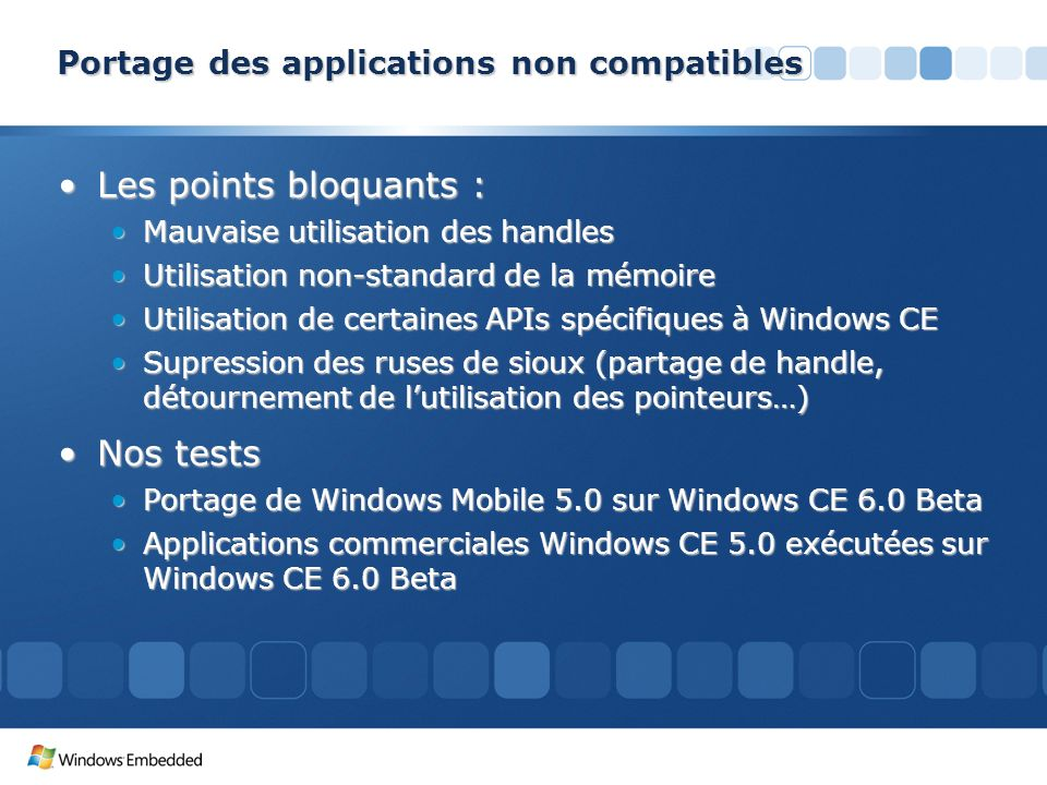 Portage des applications non compatibles