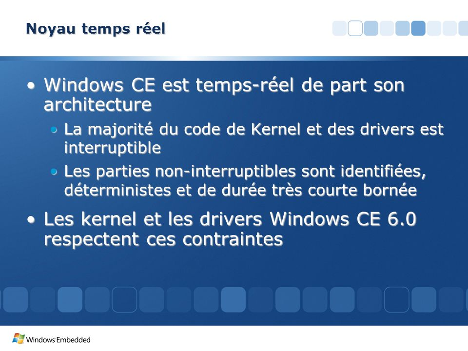 Windows CE est temps-réel de part son architecture