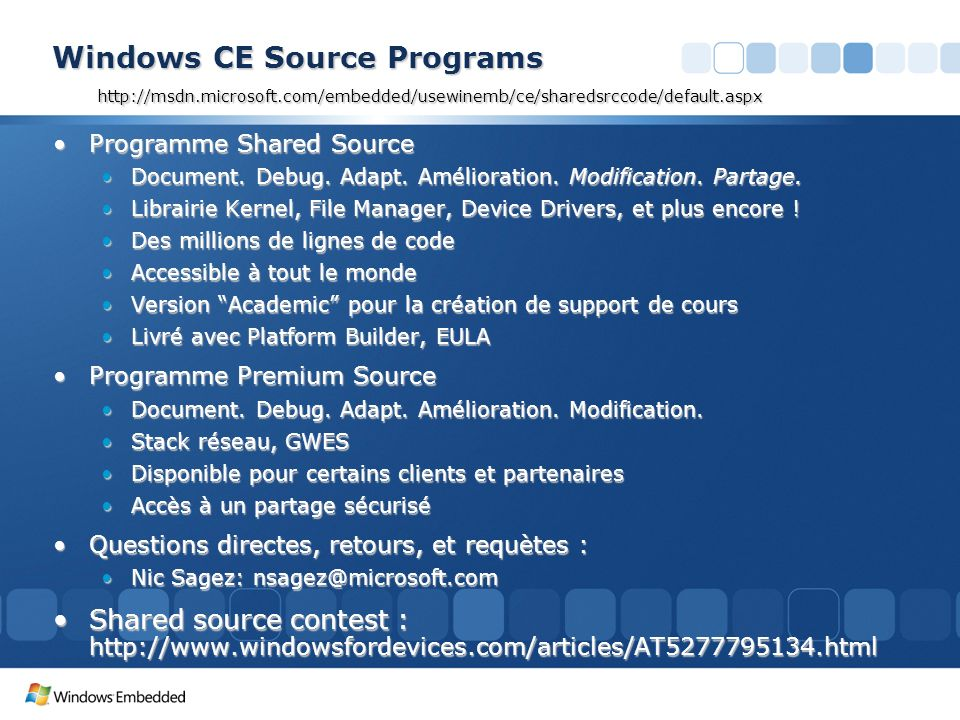 3/26/2017 3:56 PM Windows CE Source Programs http://msdn.microsoft.com/embedded/usewinemb/ce/sharedsrccode/default.aspx.