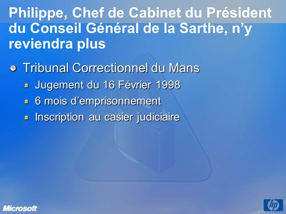 3/26/2017 3:56 PM Philippe, Chef de Cabinet du Président du Conseil Général de la Sarthe, n'y reviendra plus.