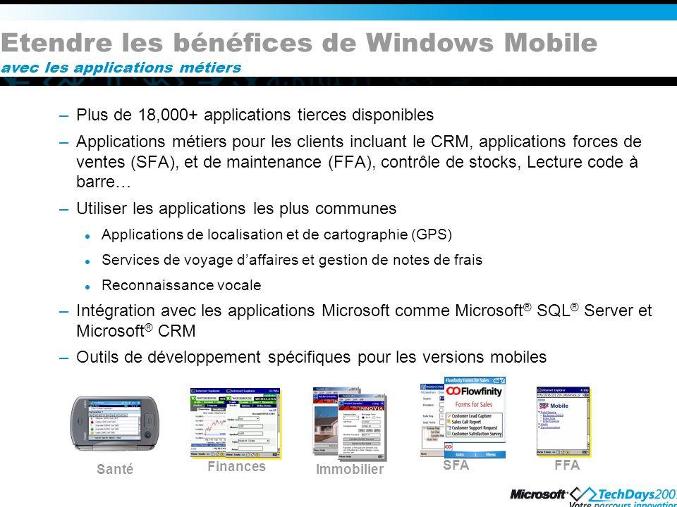 Etendre les bénéfices de Windows Mobile avec les applications métiers