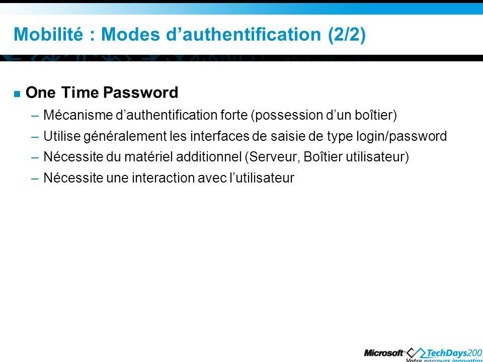 Mobilité : Modes d'authentification (2/2)