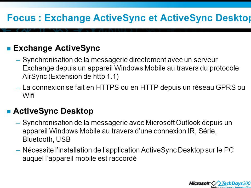 Focus : Exchange ActiveSync et ActiveSync Desktop
