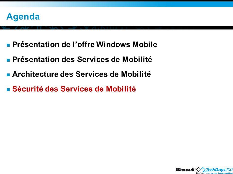 Agenda Présentation de l'offre Windows Mobile