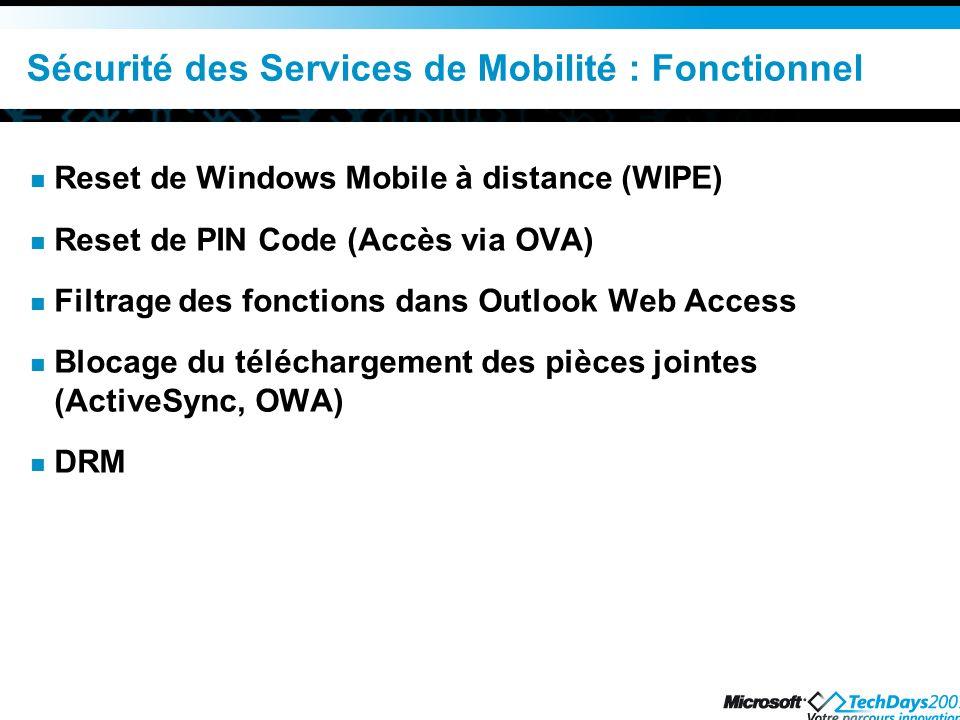Sécurité des Services de Mobilité : Fonctionnel
