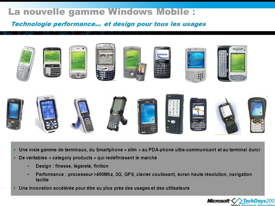 La nouvelle gamme Windows Mobile : Technologie performance… et design pour tous les usages