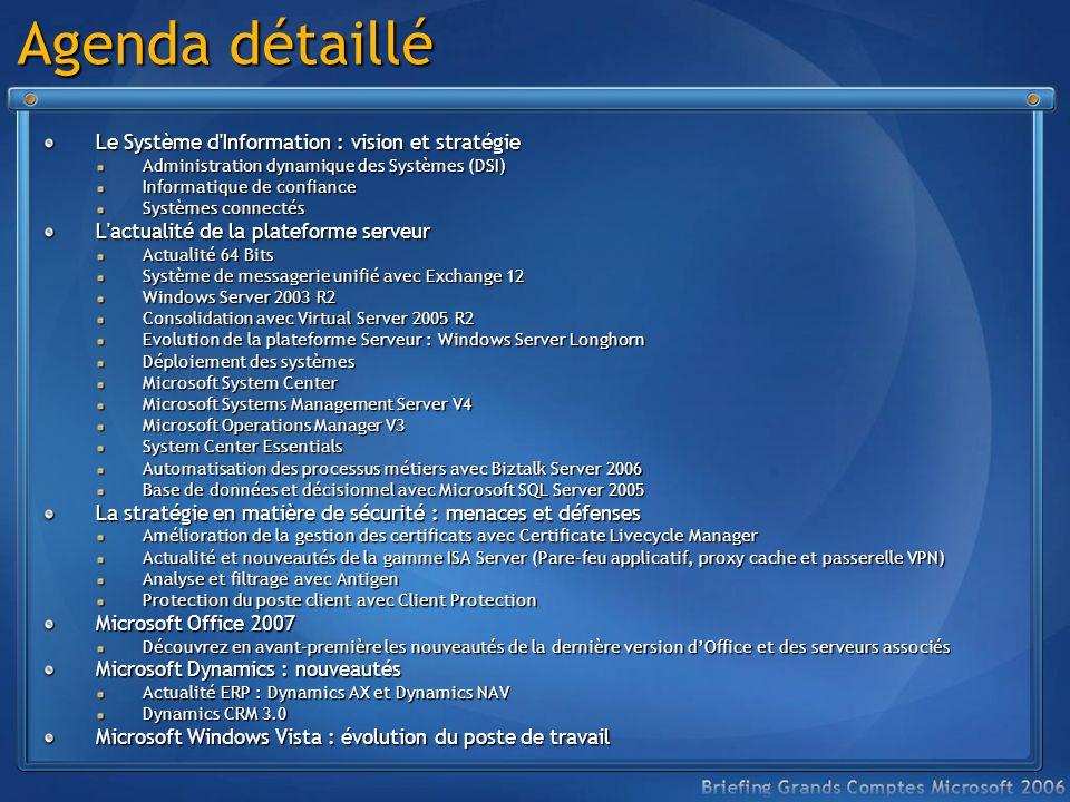 Agenda détaillé Le Système d Information : vision et stratégie