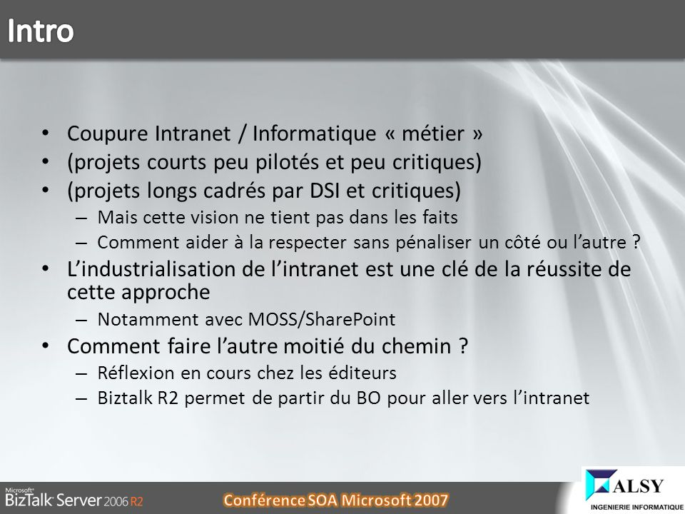 Intro Coupure Intranet / Informatique « métier »