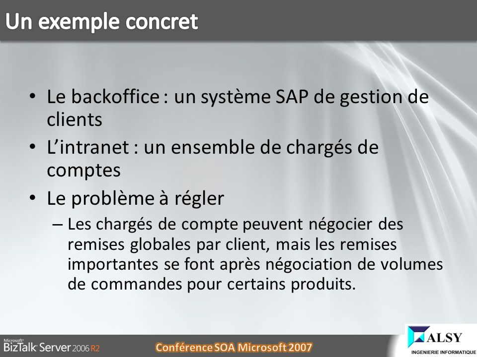 Un exemple concret Le backoffice : un système SAP de gestion de clients. L'intranet : un ensemble de chargés de comptes.