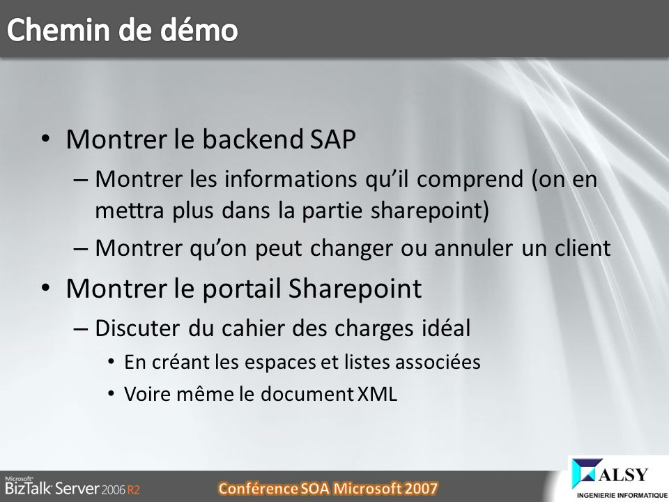 Chemin de démo Montrer le backend SAP Montrer le portail Sharepoint
