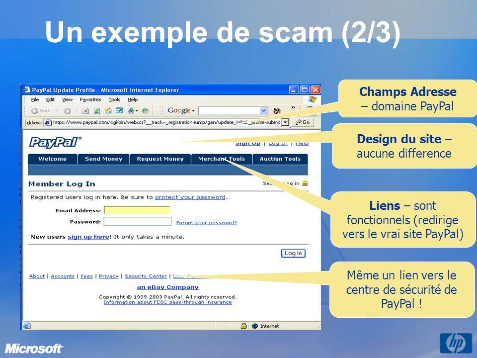 Un exemple de scam (2/3) Champs Adresse – domaine PayPal