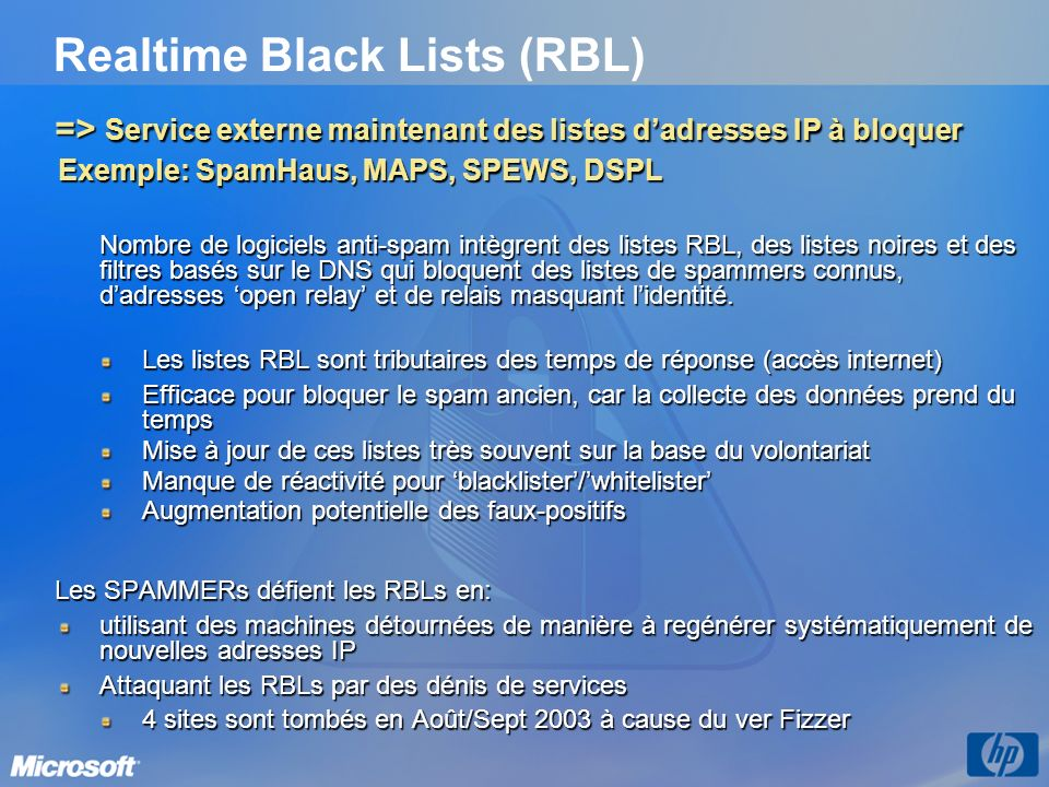 Realtime Black Lists (RBL)