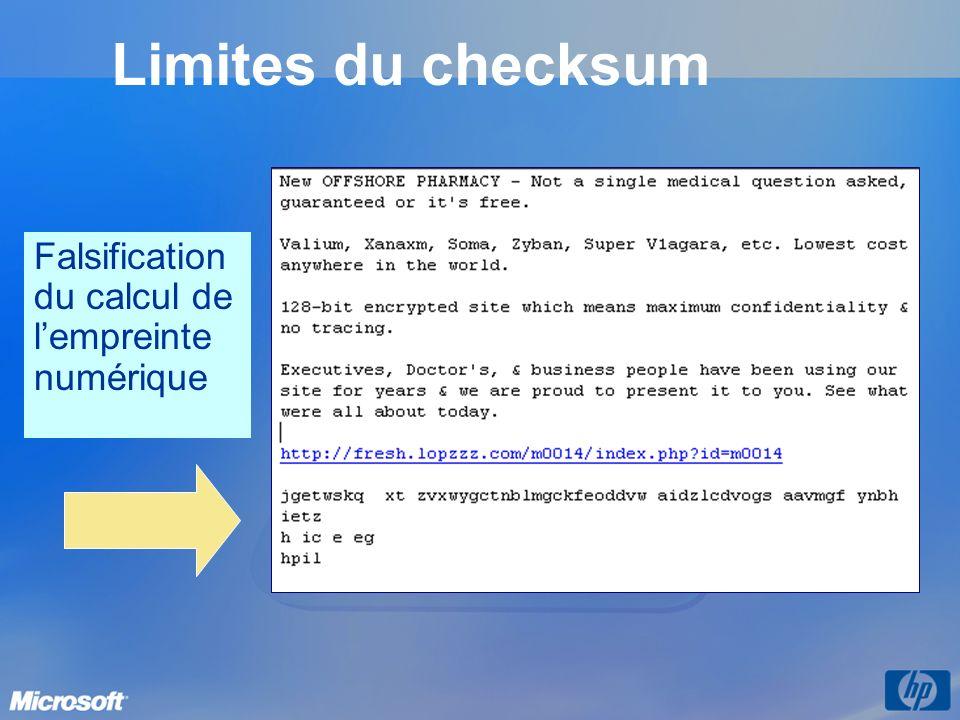 Limites du checksum Falsification du calcul de l'empreinte numérique