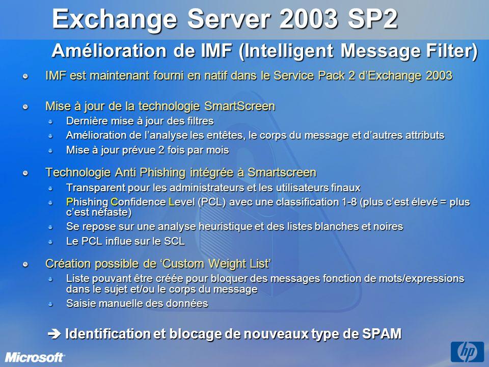 Exchange Server 2003 SP2 Amélioration de IMF (Intelligent Message Filter) 3/26/2017 3:56 PM.
