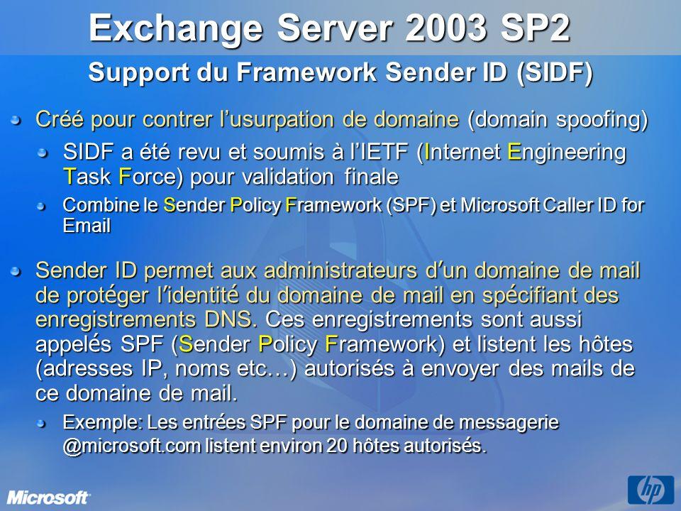 Exchange Server 2003 SP2 Support du Framework Sender ID (SIDF)