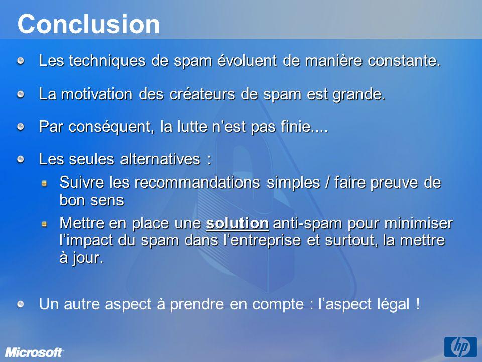 Conclusion Les techniques de spam évoluent de manière constante.