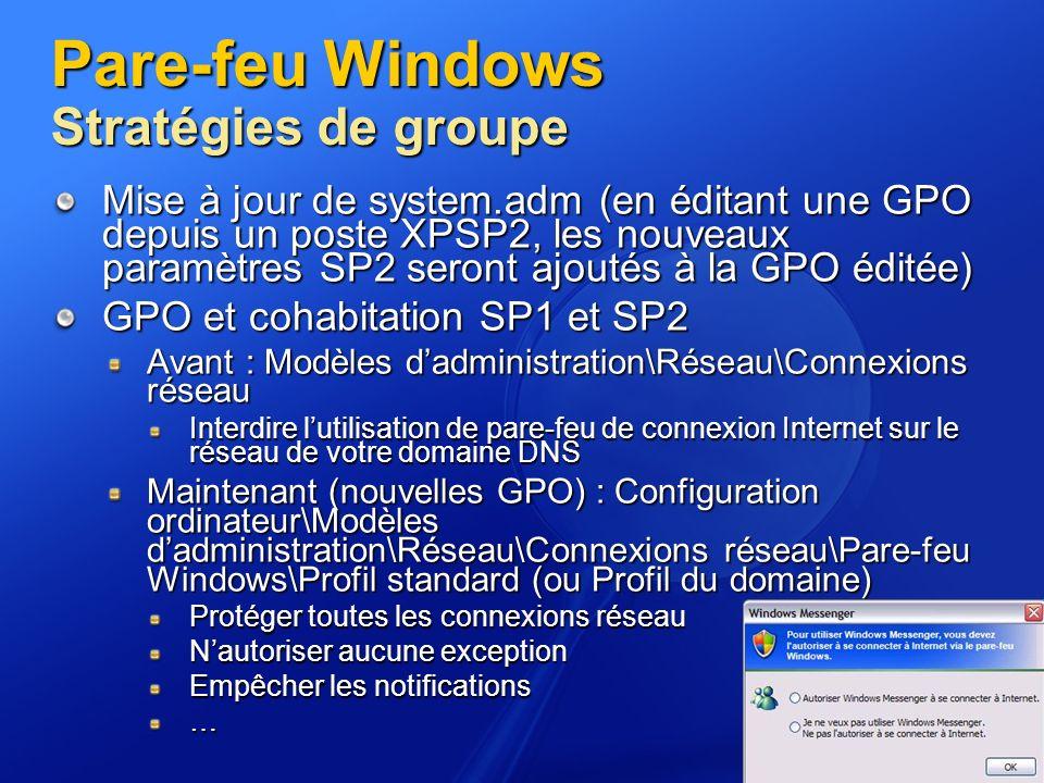 Pare-feu Windows Stratégies de groupe