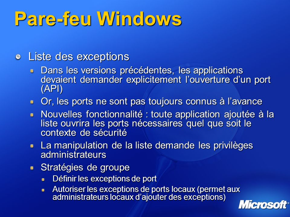 Pare-feu Windows Liste des exceptions