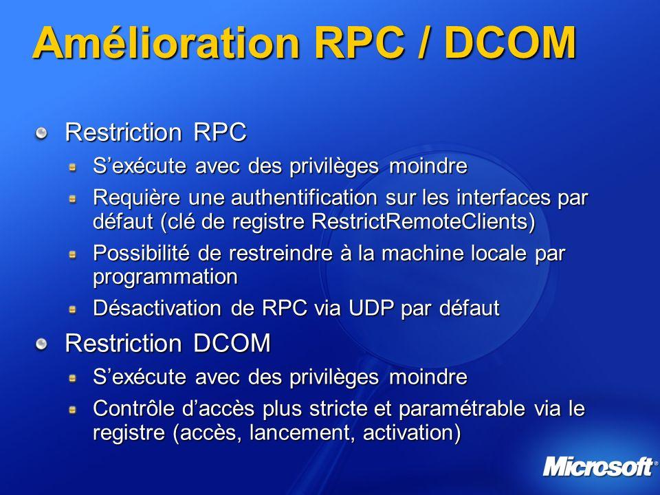Amélioration RPC / DCOM