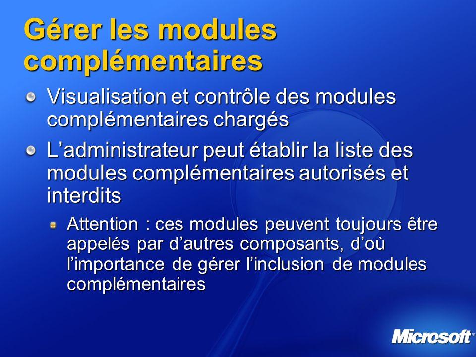 Gérer les modules complémentaires