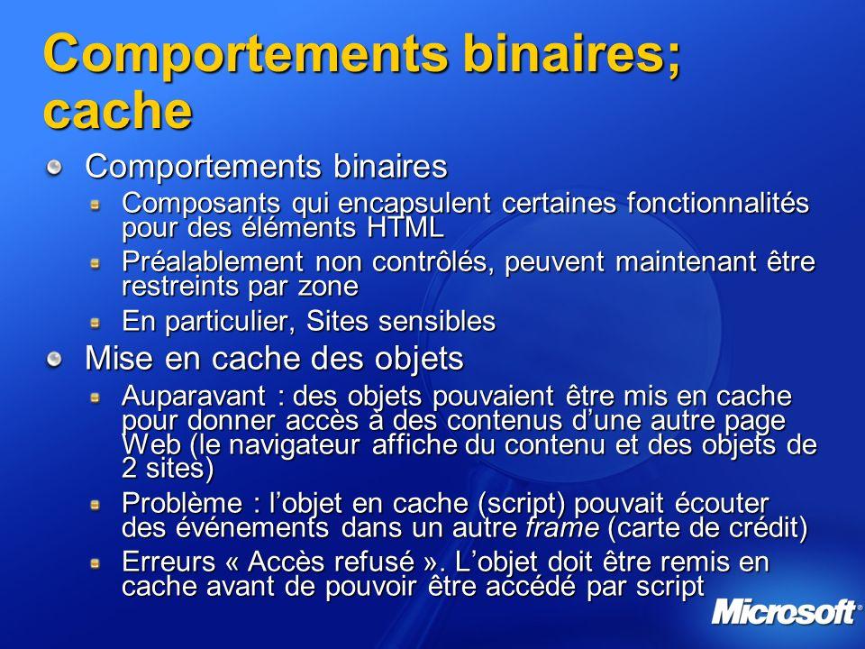 Comportements binaires; cache