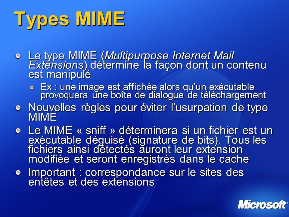 Types MIME Le type MIME (Multipurpose Internet Mail Extensions) détermine la façon dont un contenu est manipulé.