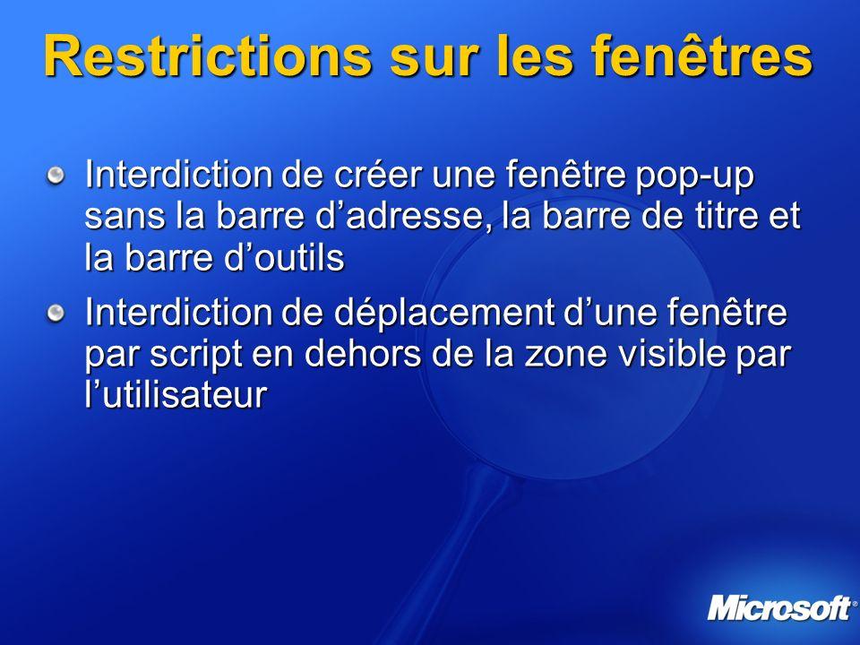 Restrictions sur les fenêtres