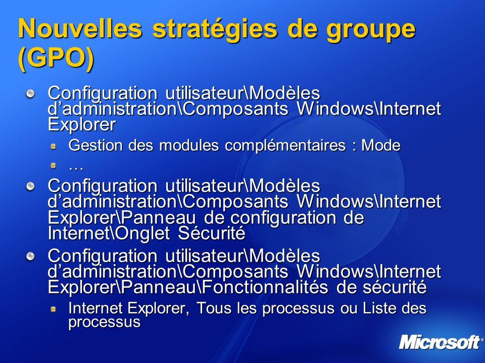 Nouvelles stratégies de groupe (GPO)