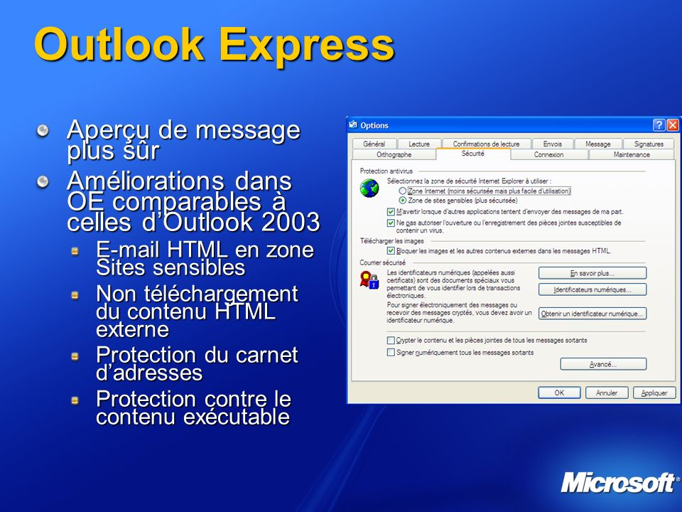 Outlook Express Aperçu de message plus sûr