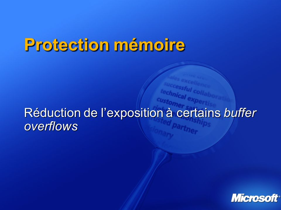 Réduction de l'exposition à certains buffer overflows