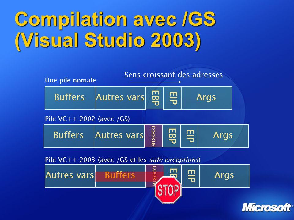 Compilation avec /GS (Visual Studio 2003)