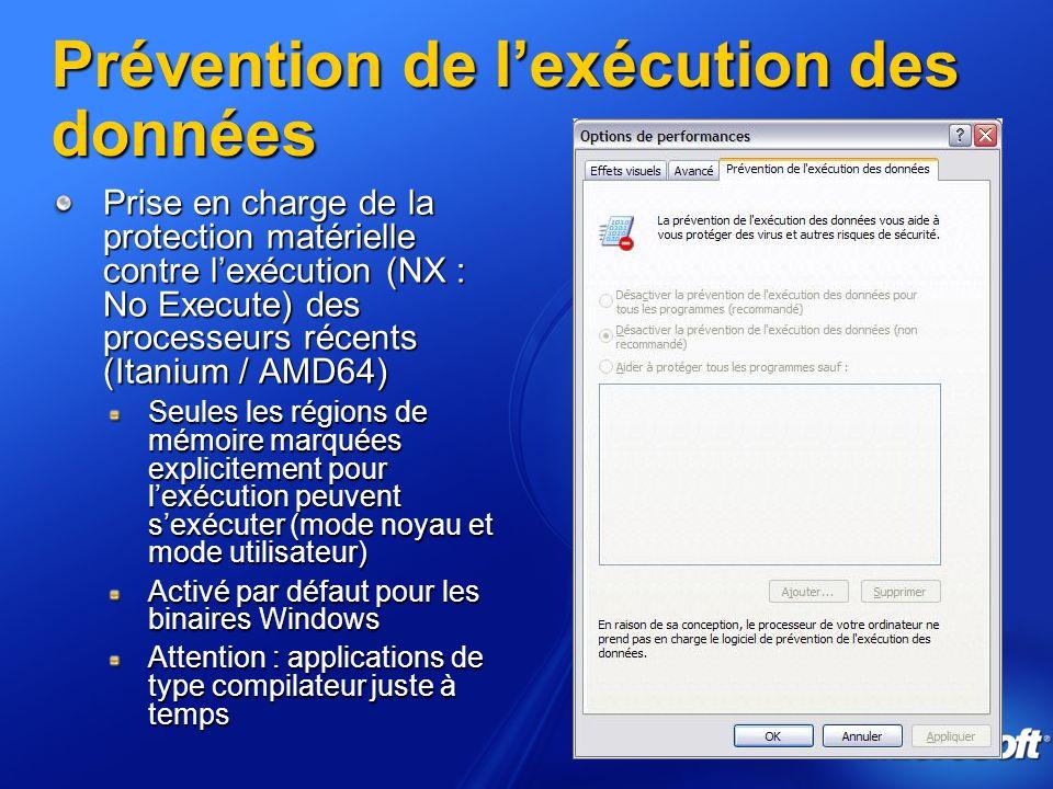 Prévention de l'exécution des données