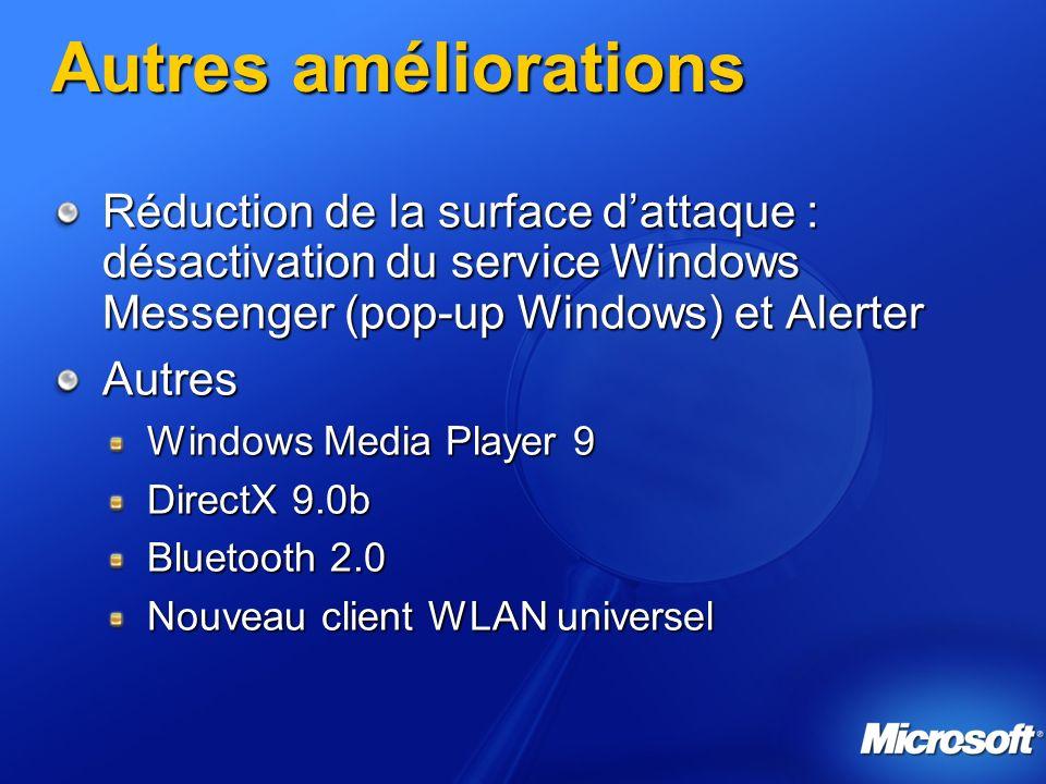 Autres améliorations Réduction de la surface d'attaque : désactivation du service Windows Messenger (pop-up Windows) et Alerter.