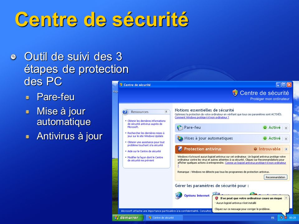 Centre de sécurité Outil de suivi des 3 étapes de protection des PC