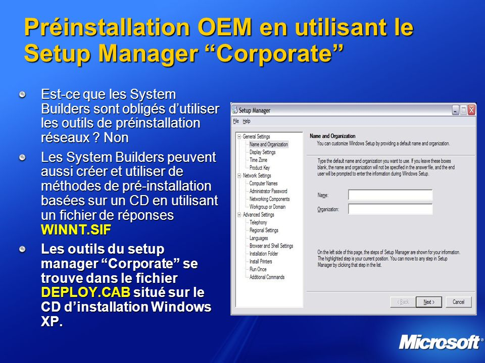 Préinstallation OEM en utilisant le Setup Manager Corporate