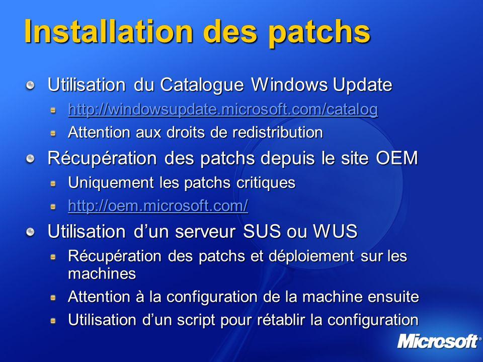 Installation des patchs