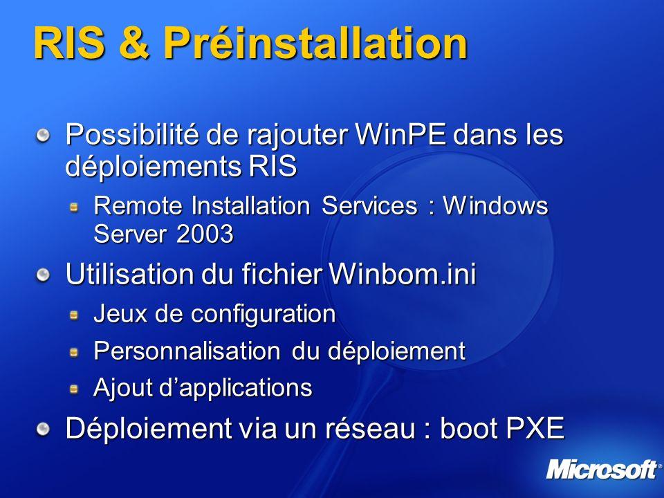 RIS & Préinstallation Possibilité de rajouter WinPE dans les déploiements RIS. Remote Installation Services : Windows Server 2003.