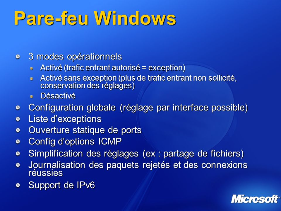 Pare-feu Windows 3 modes opérationnels
