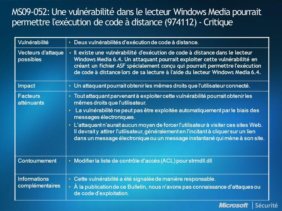 MS09-052: Une vulnérabilité dans le lecteur Windows Media pourrait permettre l exécution de code à distance (974112) - Critique